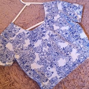 American Apparel Blue and White Floral Crop Top